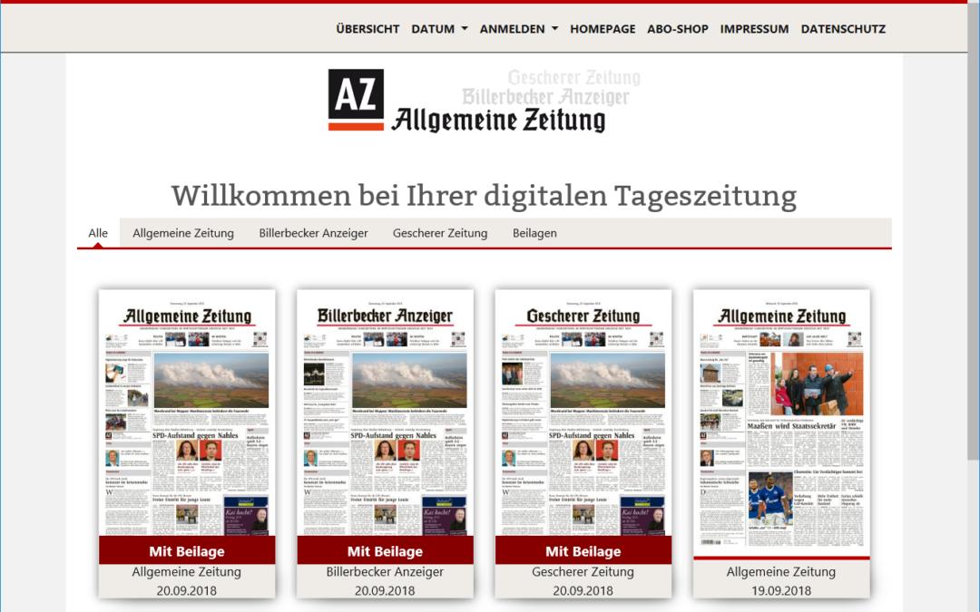 Allgemeine Zeitung mit neuem E-Paper